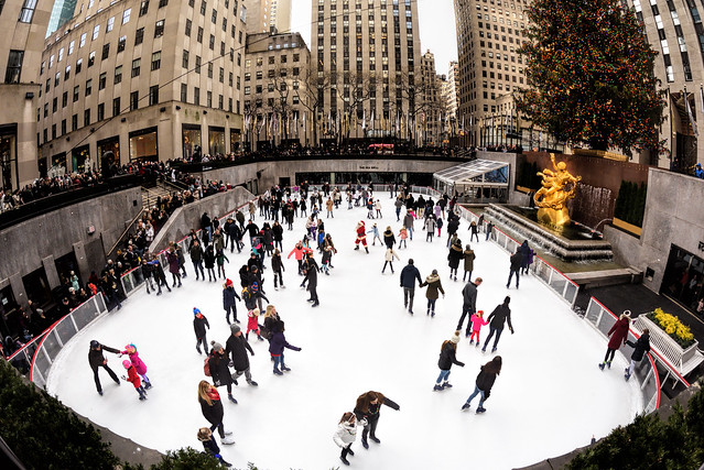 Skaters at Rockefeller Center in NYC