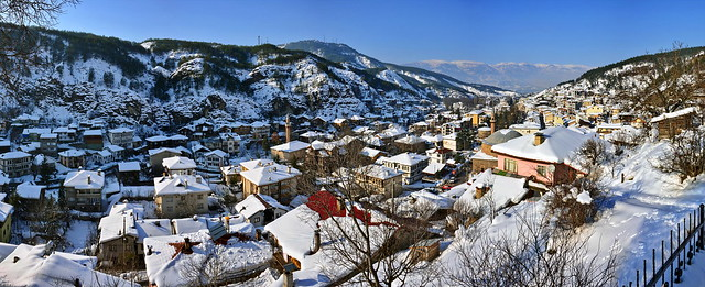 The town covered  snow