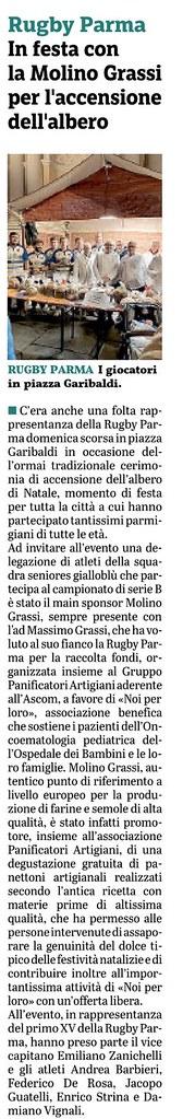 Gazzetta di Parma 11.12.19 - pag 51 - RPFC ein Piazza con Molino Grassi