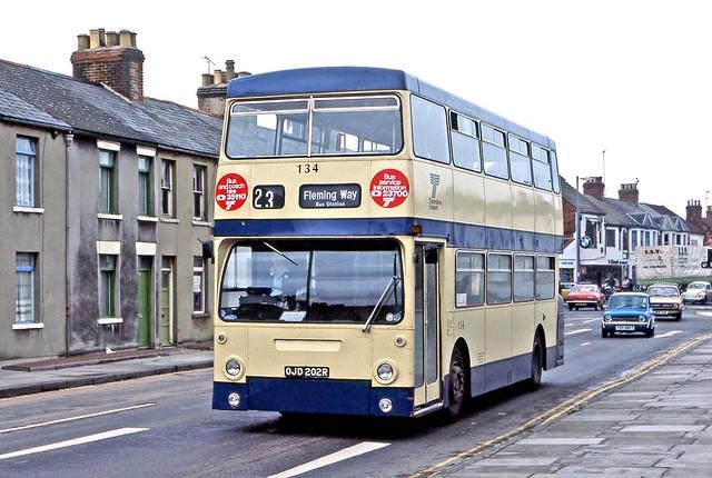 Thamesdown: 134 (OJD202R) in Manchester Road, Swindon