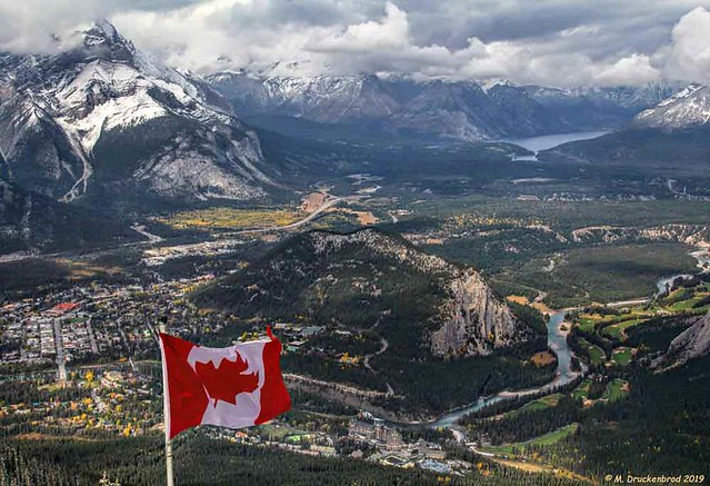 Town of Banff, Tunnel Mountain and the Bow River Valley from atop the Banff Gondola