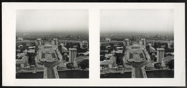 Archiv U732 Blick vom Eiffelturm über die Jena-Brücke zum Trocadéro, Paris, Frankreich, 1937