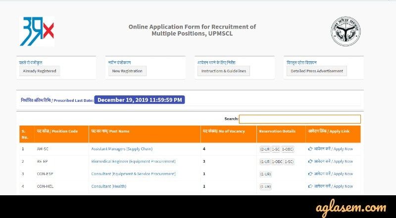 UPMSCL Recruitment 2019 application form