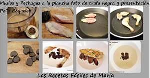 Muslos y Pechugas de pollo a la plancha foto de trufa negra presentación Pollo Coquelet con Crema de Avellanas