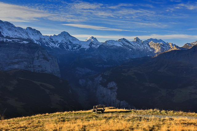 The lonely bench  in front of the Lauterbrunnen Valley .Sunrise time. Canton of Bern, Switzerland.2019:10:23 09:20:21.No. 550.