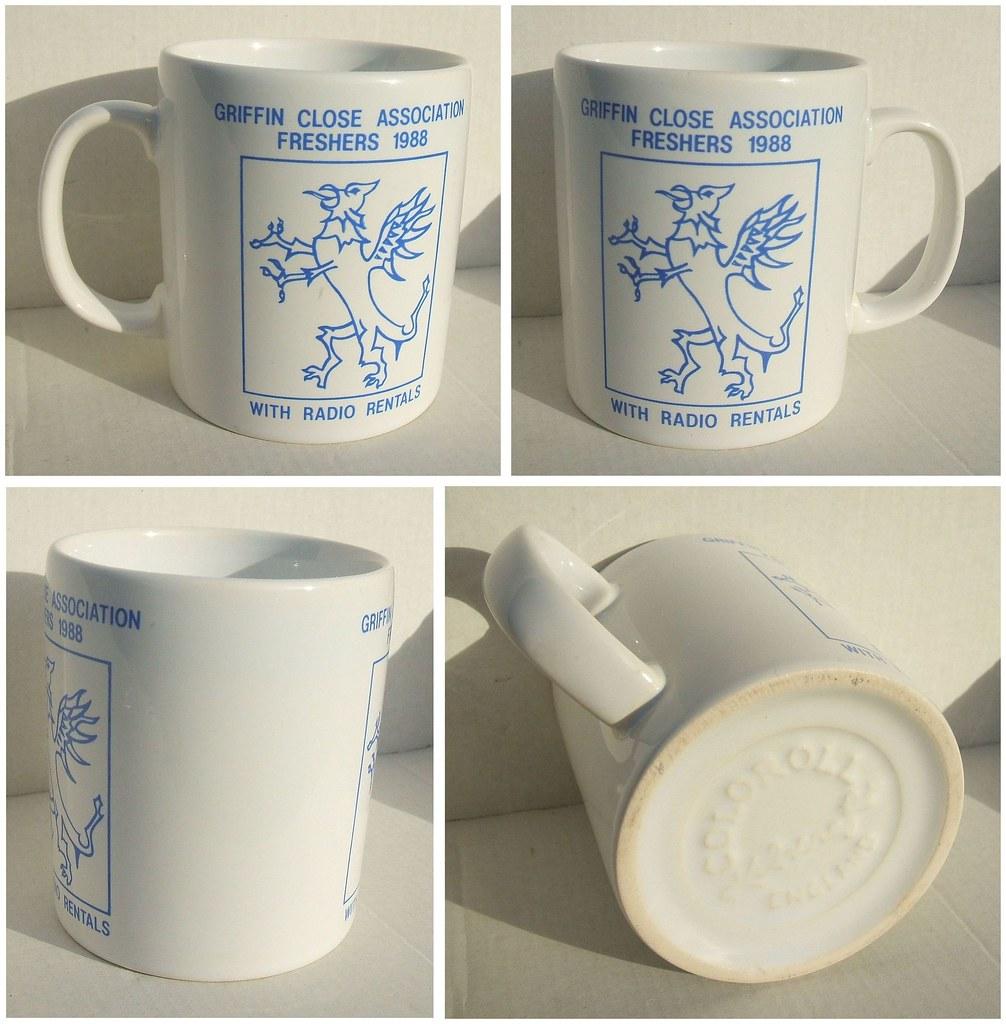 GRIFFIN CLOSE ASSOCIATION FRESHERS 1988 (with Radio Rentals) - commemorative mug