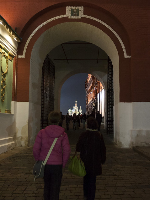 Entering Red Square via Resurrection Gate, Moscow, Russia, at night
