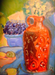 Red.vase.oil.painting