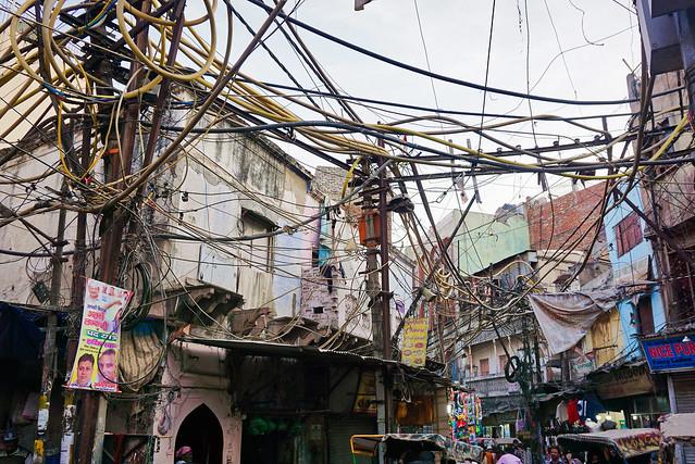 India, Delhi - Indian-style cable spaghetti - February 2018