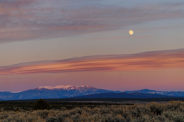 Moon at Sunset over the Sangre de Cristo mountains