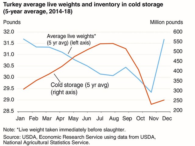 USDA ERS turkey average live weights and inventory in cold storage chart