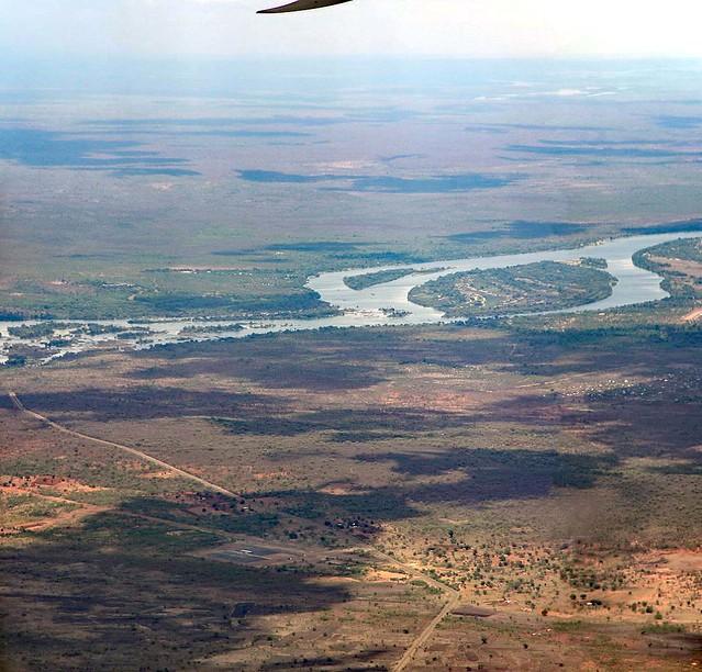 Approaching Livingstone, Zambezi from the air