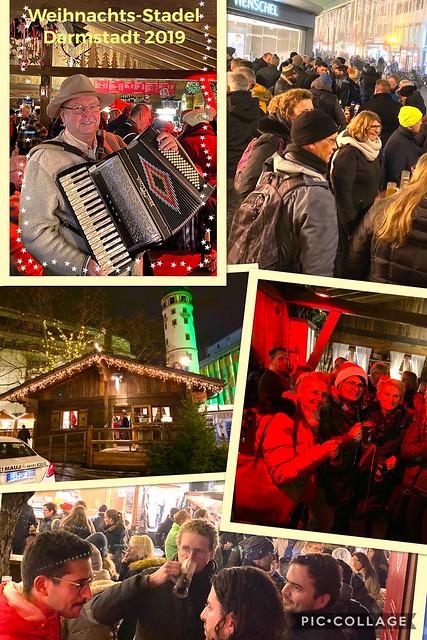 Beim Weihnachtsmarkt in Darmstadt beim Tiroler Abend beim Salm in der Alpenhütte.