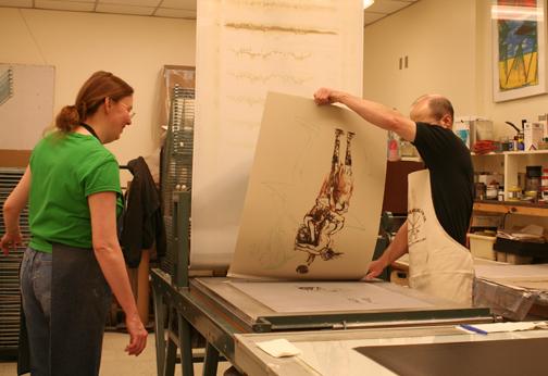 Meda Rives and Richard Finch printing