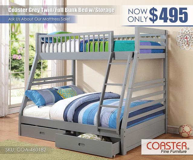 Grey Full-Twin Bunk Coaster_460182