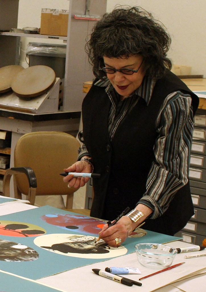 Phyllis Bramson handcoloring a print