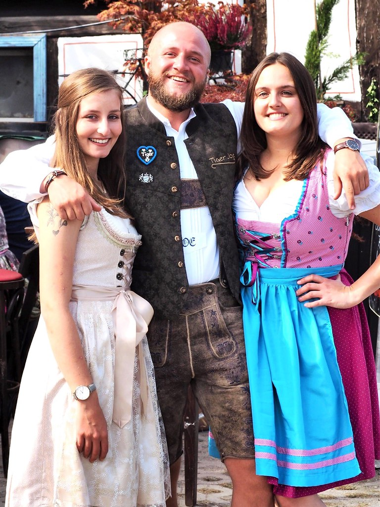 In the Garden Restaurant in Gustavsburg in Germany during a Festival - 2019 - With Dirndl and leatherpants
