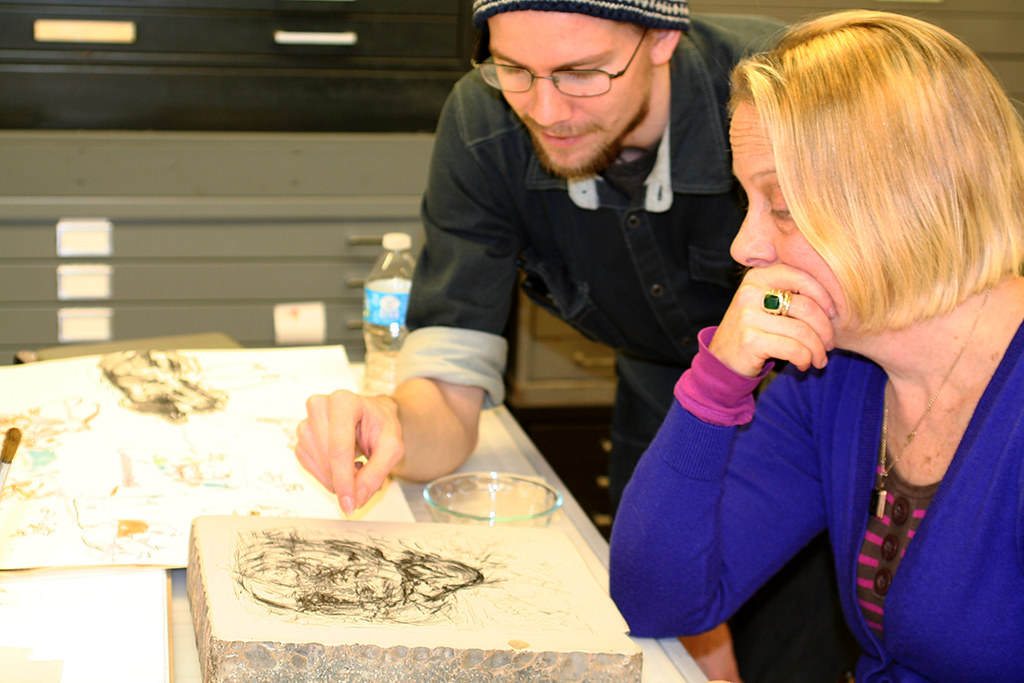 inspecting of the drawing on the litho stone