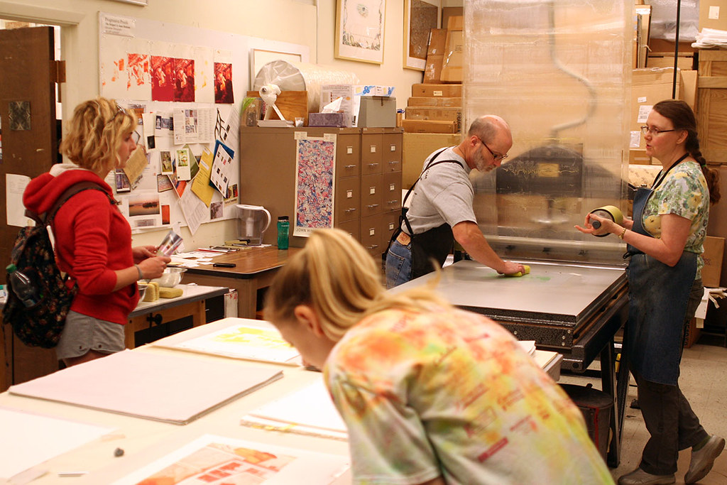 students observe printing of run one