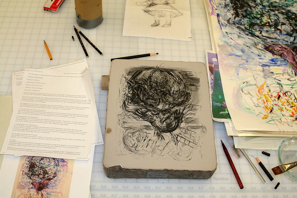 drawing on a litho stone