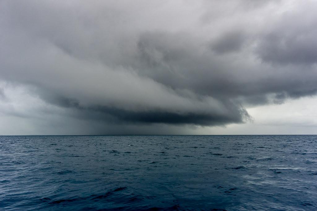 Shelf (?) clouds over the sea