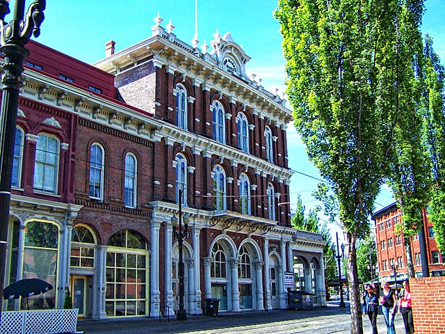 New Market Building (finished in 1872) on Ankeny Square in downtown Portland Oregon United States