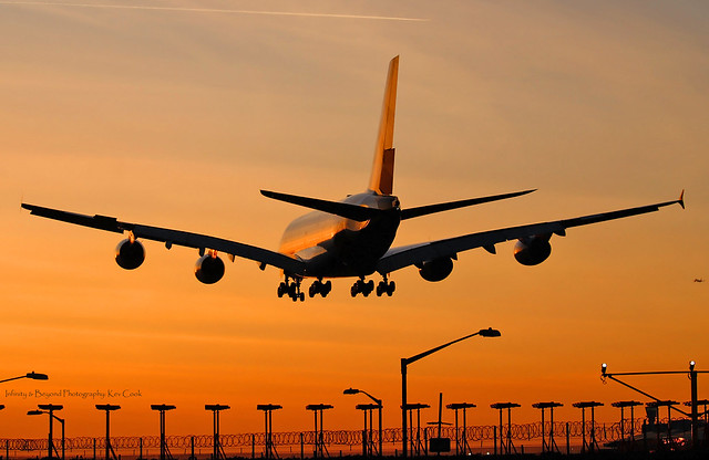 A380 in the Sunset Afterglow at Heathrow
