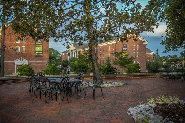Patio behind Derryberry Hall