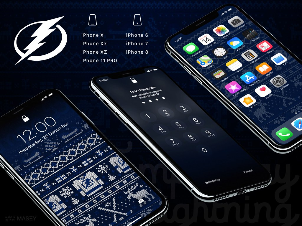 "Tampa Bay Lightning Christmas ""Ugly Sweater"" iPhone Wallpaper"