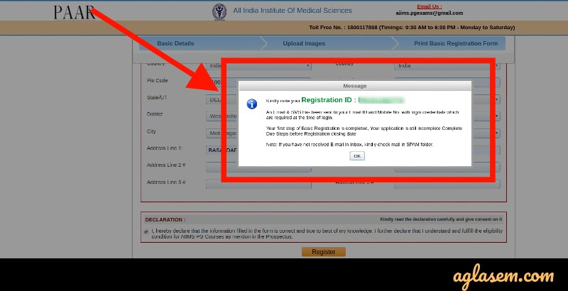 AIIMS BSc basic registration