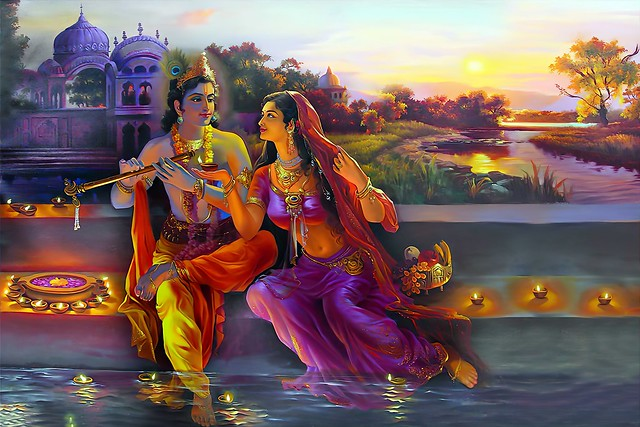 Radha entranced by Krishna, the love of her life
