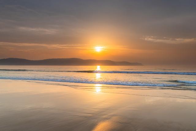 Golden Hour Hazy Sunrise Seascape