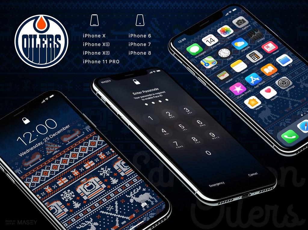 "Edmonton Oilers Christmas ""Ugly Sweater"" iPhone Wallpaper"