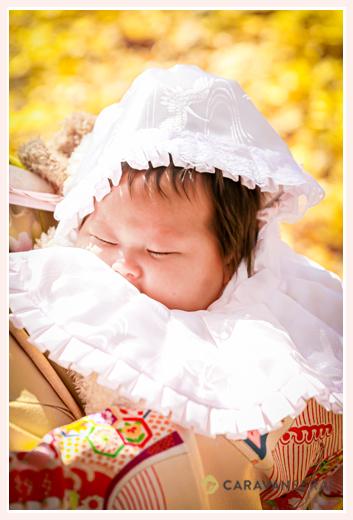 お宮参り 眠る赤ちゃん 銀杏の葉をバックに
