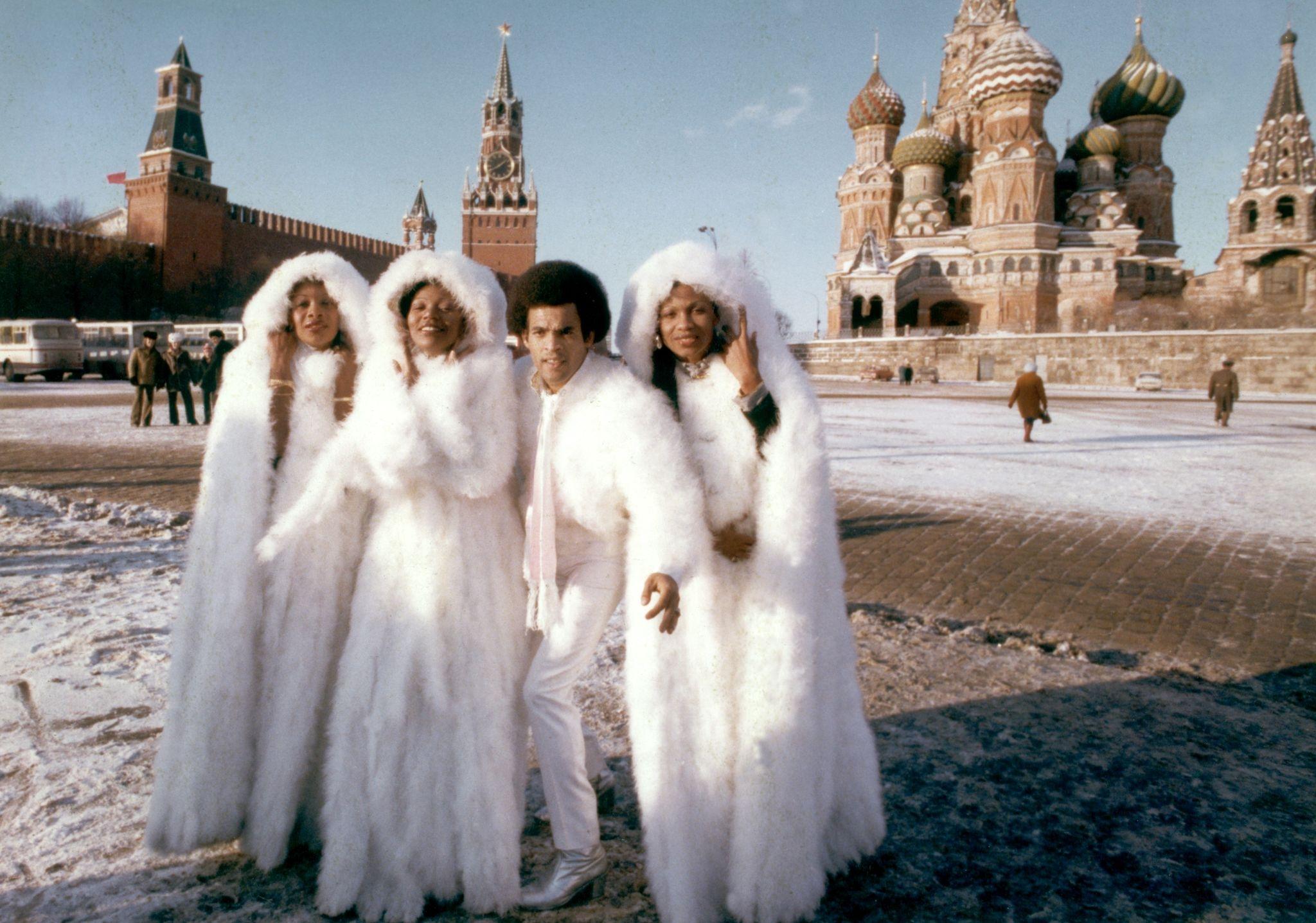 Бони М на Красной площади во время гастролей в Москве в декабре 1978 года,