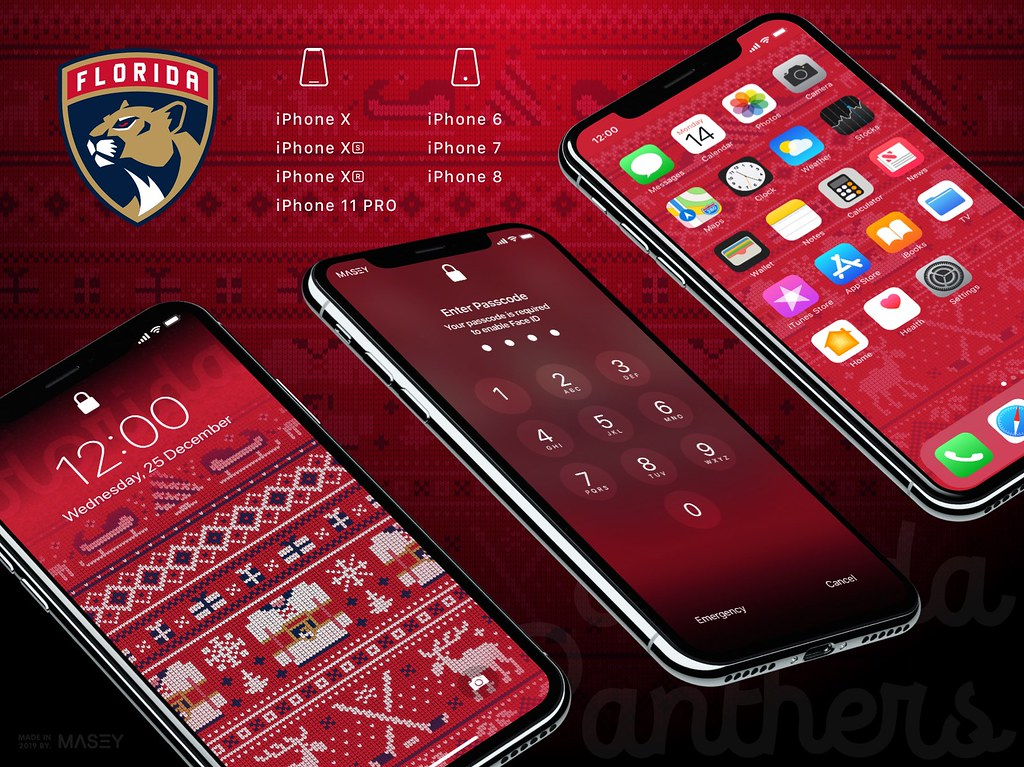 "Florida Panthers Christmas ""Ugly Sweater"" iPhone Wallpaper"