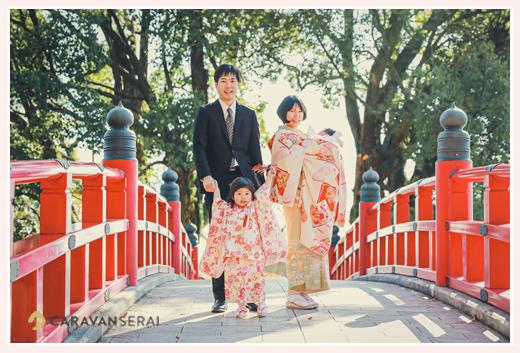 七五三 岡崎公園の赤い橋 愛知県岡崎市