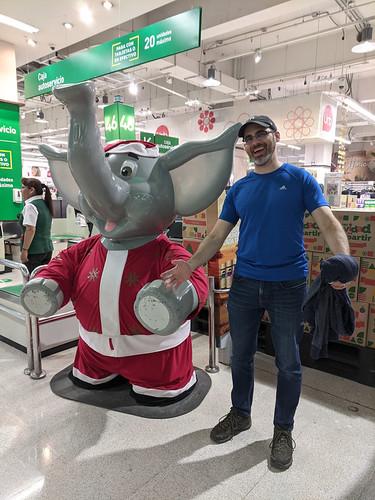 posing w/ an elephant mascot