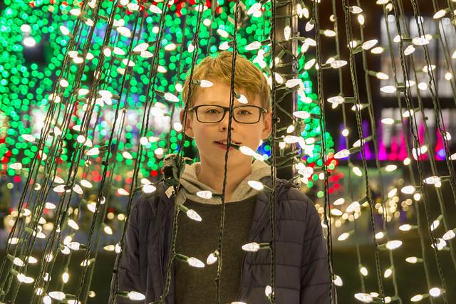 Joshua Inside the Lights of a Christmas Display