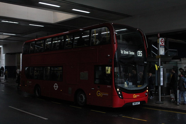 Docklands Buses EHV2, BK15AZT - Route 135   Canary Wharf Station