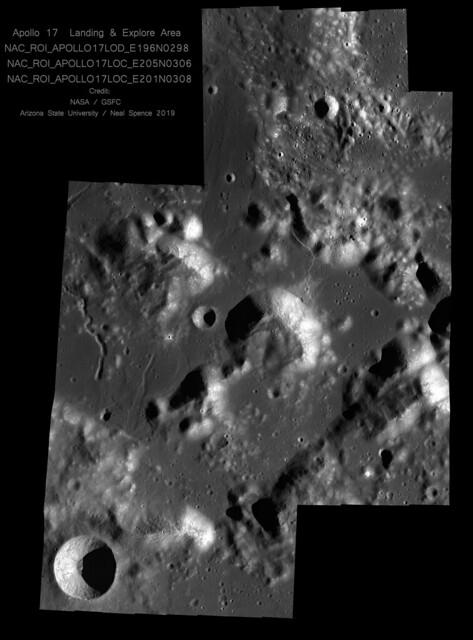 Apollo 17 'Explore Area' (3 NAC Mosaics - Some Handstitched)