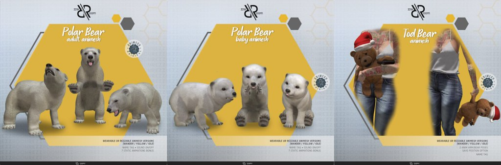 [Rezz Room] Polar Bear Adult  and Baby Animesh  (companion) + Animesh Free Christmas Gift