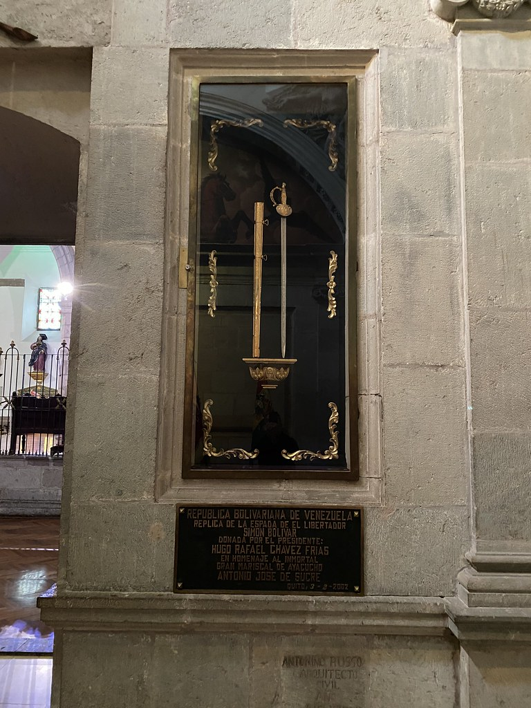 Simón Bolívars Sword, the Metropolitan Cathedral of Quito, the Plaza de la Independencia (the Plaza Grande) at an elevation of 2,818 meters (9,245 ft) above sea level, Quito´s Historic Center, Ecuador.