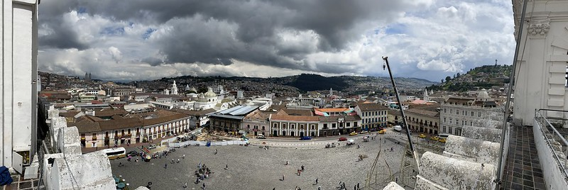 The Colonial Center of Quito from the Domes of el Francisco at an elevation of 2,818 meters (9,245 ft) above sea level, Ecuador.