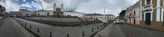 The Square and Church of San Francis at an elevation of 2,818 meters (9,245 ft) above sea level, Quito´s Historic Center, Ecuador.