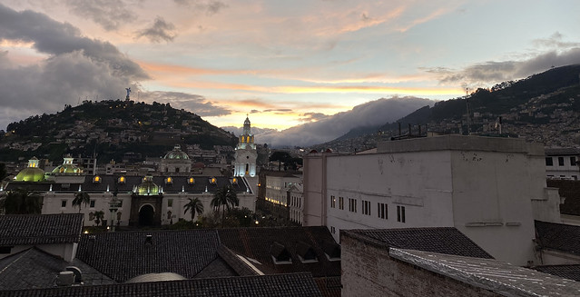 Sunset in the spectacular Vista Hermosa (restaurant - 'Lovely View'), Quito´s Historic Center at an elevation of 2,850 metres (9,350 ft) above sea level, Ecuador.