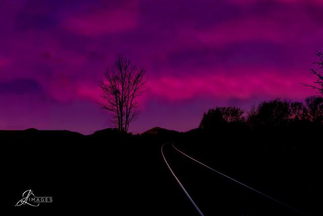 Roadroad tracks on a Gloomy Night