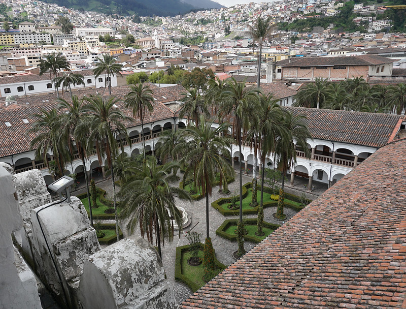 The Garden of the Main Cloister of the Convent from the Domes of el Francisco at an elevation of 2,818 meters (9,245 ft) above sea level, Ecuador.