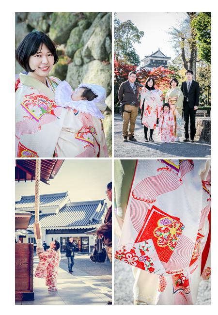岡崎城&龍城神社で七五三とお宮参り 産着はママがかつて着られていたもの
