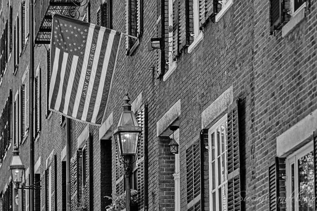 Acorn Street US Flag Boston